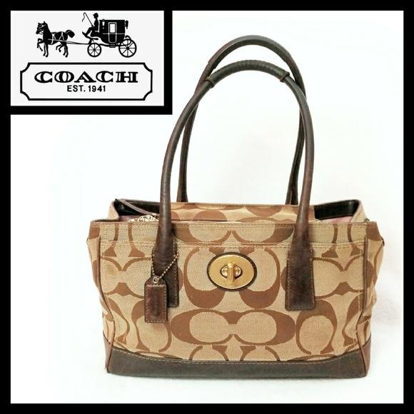 5ff3eb9a2318e Coach Bags | Signature Madeline Leather Cloth Tote Bag | Poshmark
